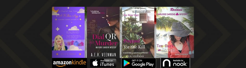 Banner: Book Covers for the Marjorie Gardens Mystery series by A. E. H. Veenman